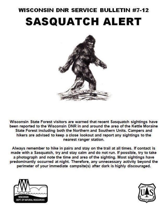 Wisconsin DNR sasquatch alert