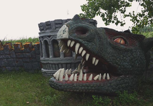 Large animatronic dragon head