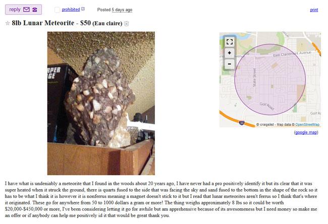 Lunar meteorite for sale in Eau Claire